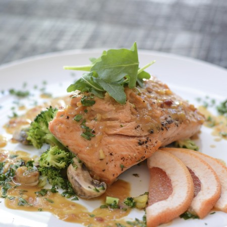 Wild Salmon with Grapefruit-Miso Reduction, Broccoli, Ginger and Mushrooms