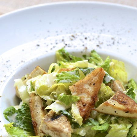 If You're Gluten-Free, You'll Love this Five Minute Meals Caesar Salad with Tofu Croutons
