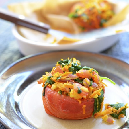 Five Minute Vegan Stuffed Tomatoes