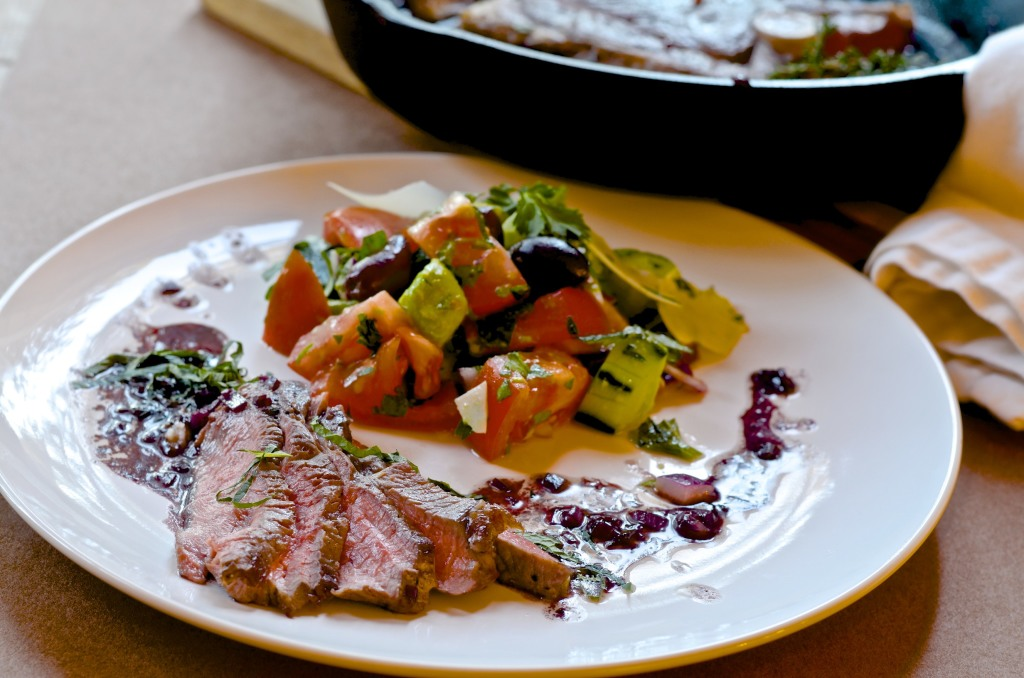 alt=Grass fed lamb steak with Greek salad from Five Minute Meals photo