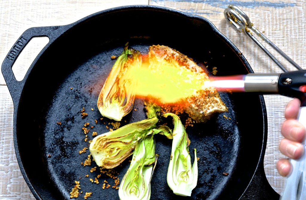 alt= finishing the sear on the tuna with the hand torch photo