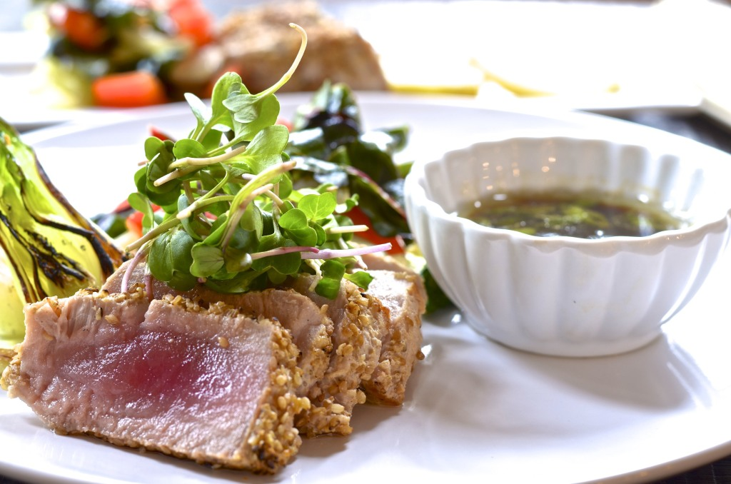 alt=Seared Yellowfin Tuna with Bok Choy, Stir-fried Veggies and Dipping Sauce from Five Minute Meals photo