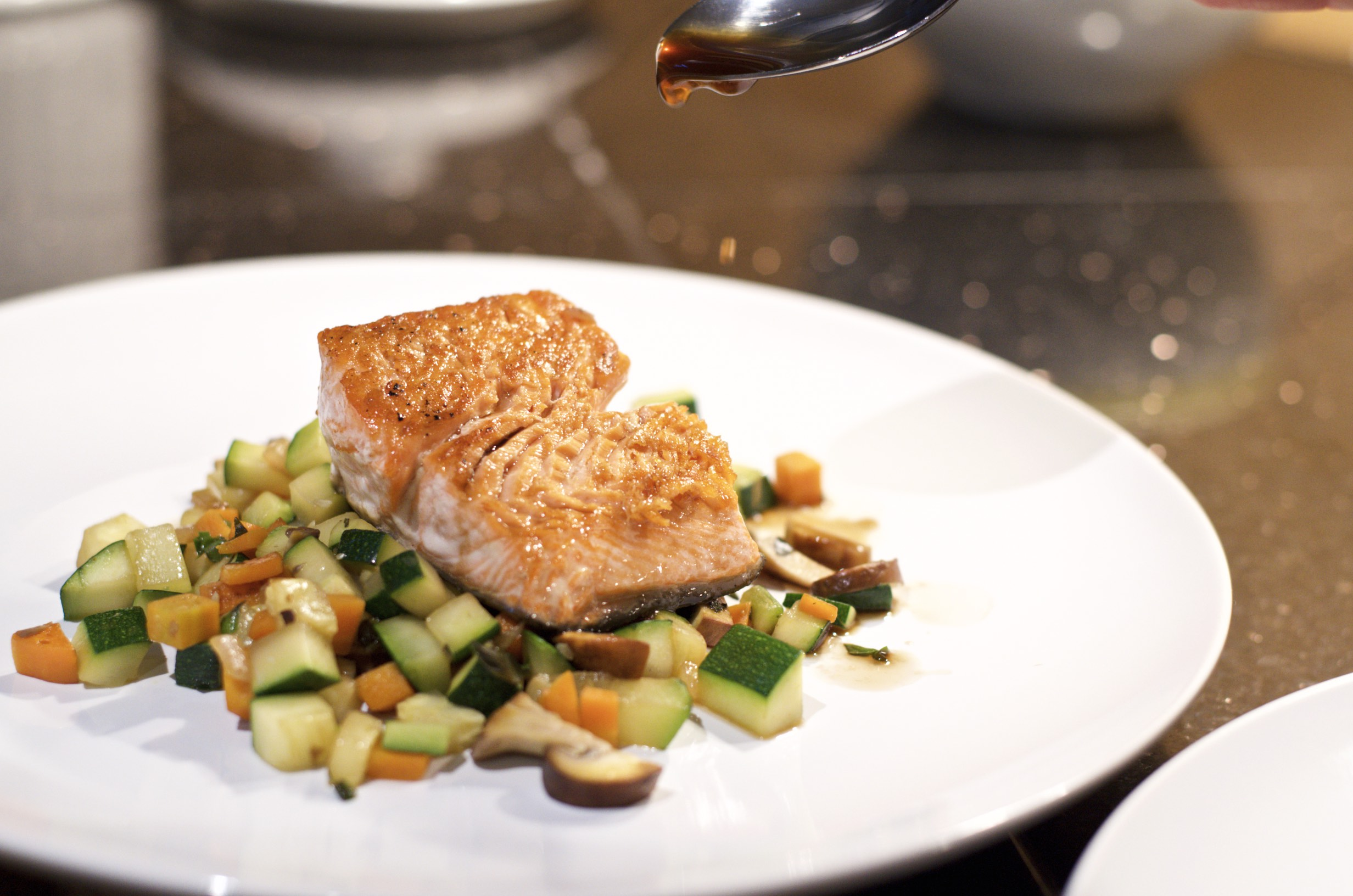 Roast Salmon with Veggies and Miso Honey Glaze