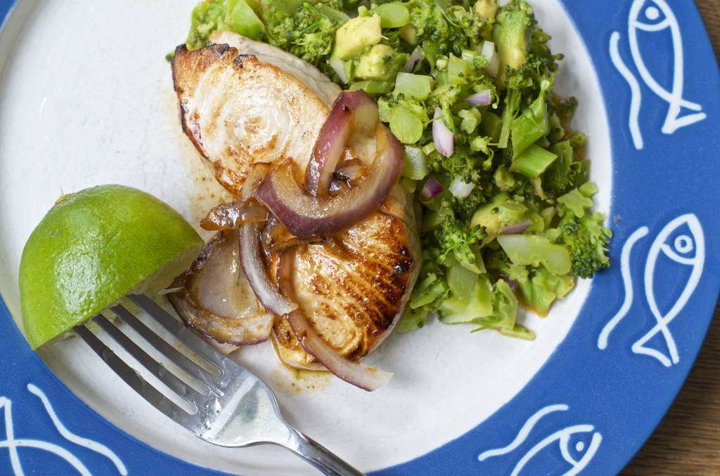 alt=Swordfish Recipe with Broccoli Avocado and Lime from Five Minute Meals photo