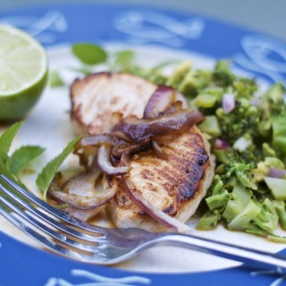 Broiled Swordfish with Lime, Avocado and Broccoli