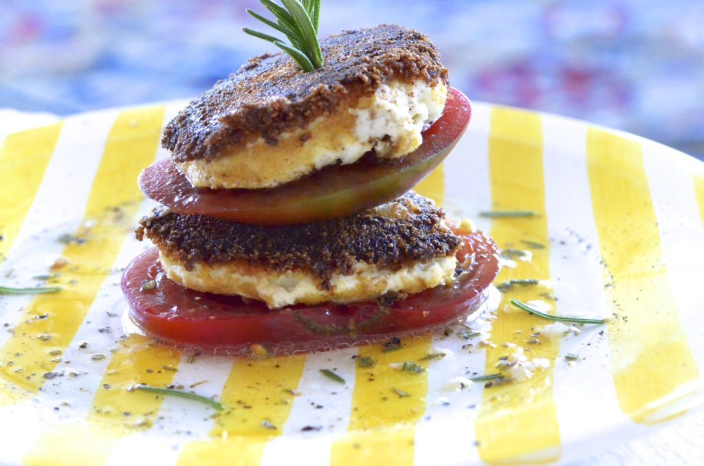 alt=Heirloom tomato recipes tomato goat cheese stack rom Five Minute Meals photo