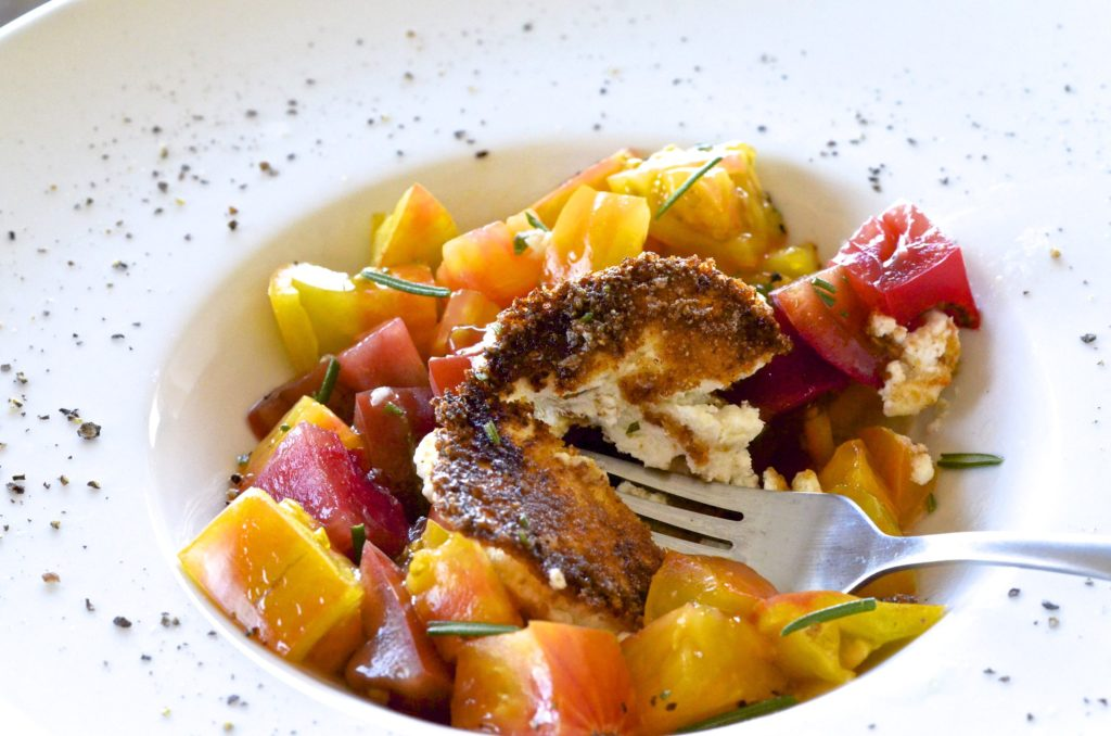 alt=Heirloom Tomato Recipes from Five Minute Meals goat cheese salad photo