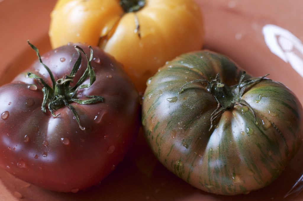 alt=heirloom tomatoes at their peak photo